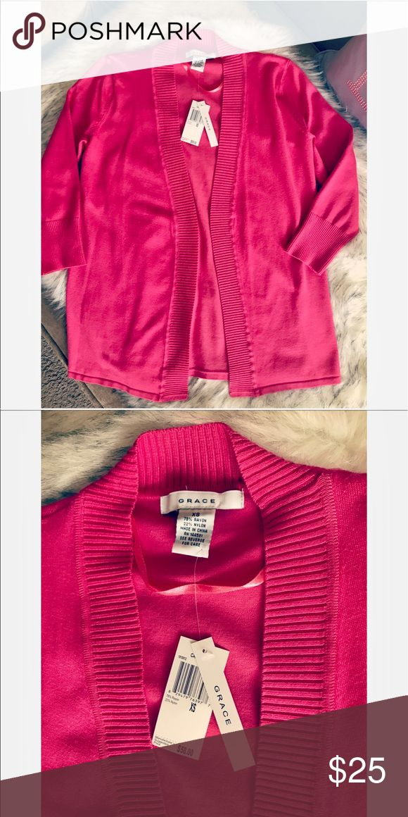 💝 Hot pink sweater 💝 💝 Beautiful sweater in hot pink...size is XS but it runs bigger I would say it can fit S 💝 Grace Sweaters Cardigans