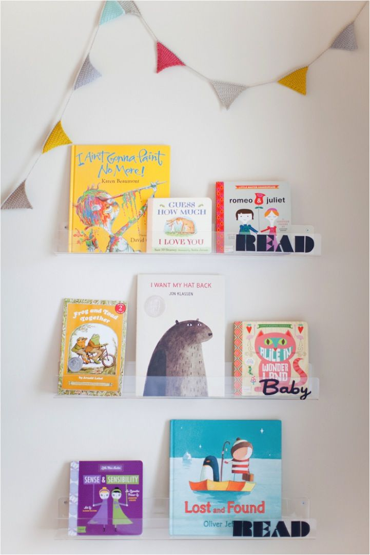 DIY clear bookshelves...Read Baby Read!