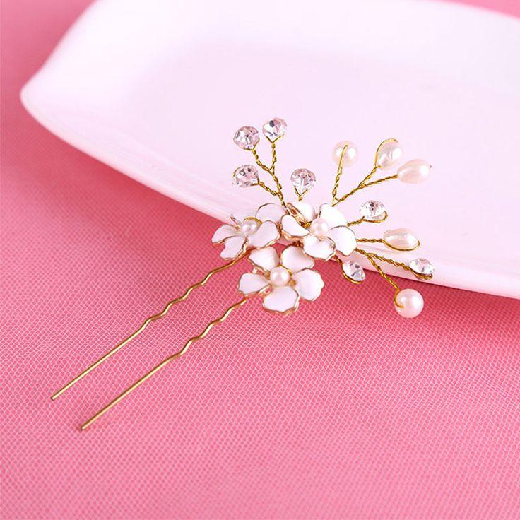 1 ADET Altın Gelin İnci Çiçek Saç Pins Klipler Nedime Hairband Rhinestone Şapkalar Düğün Saç Aksesuarları Saç Takı D0033