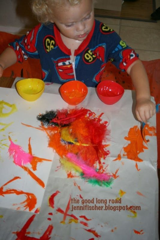Feather Painting and more creative explorations for #toddlers inspired by the letter F #totschool #learnthroughplay