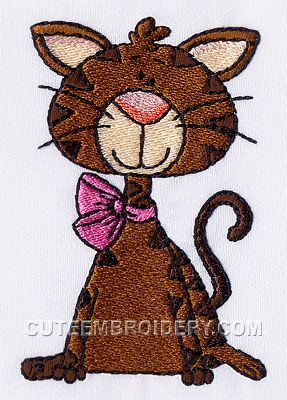 This free embroidery design is a cat.