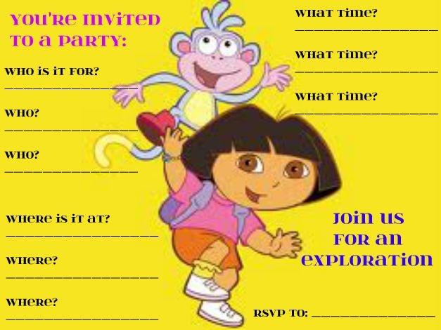 Funny Dora The Explorer party invitation