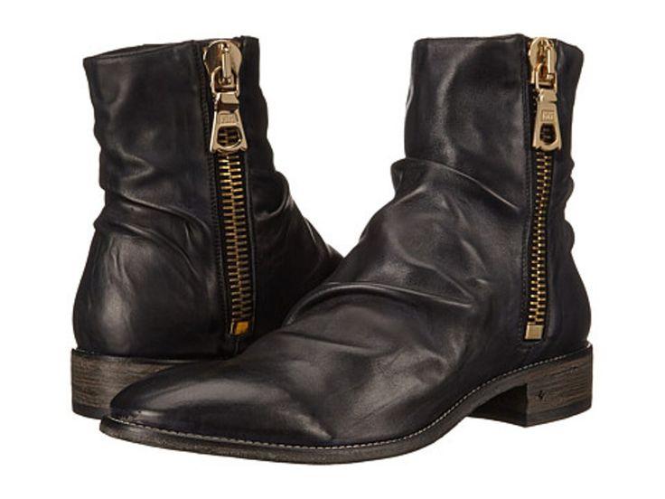 John Varvatos Men's Black Leather Sharpei Boots