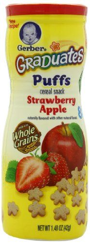 Gerber Graduates Strawberry & Apple Puffs, 1.48-Ounce Canisters (Pack of 6) Case of six 1.48-ounce containers (total of 8.88 ounces). Sweet blend of rice- , oat- , and wheat-flour puffs flavored with strawberry and apple. Designed for baby learning to eat with fingers; proper size/shape for baby to grasp. Baby ready for puffs when she/he crawls on hands/knees and eats larger pieces of food. Ships ... #Gerber #Grocery