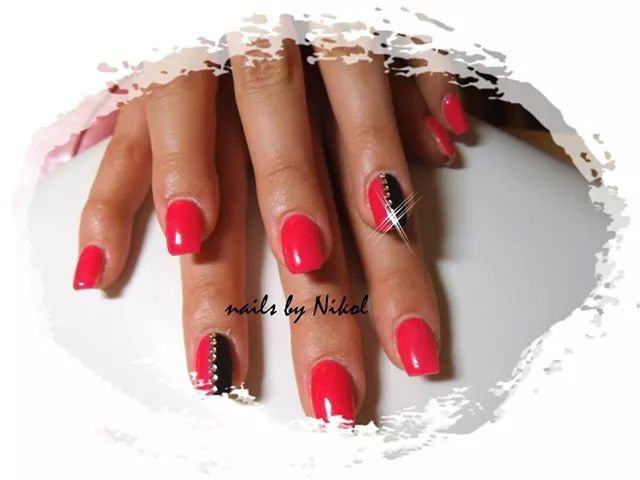 Red with stones nails