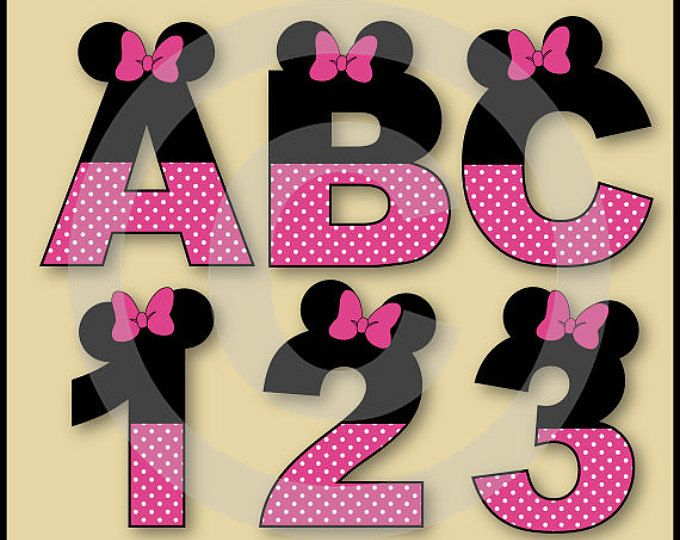 Cifras y letras del alfabeto Minnie rosa Clip arte gráfica