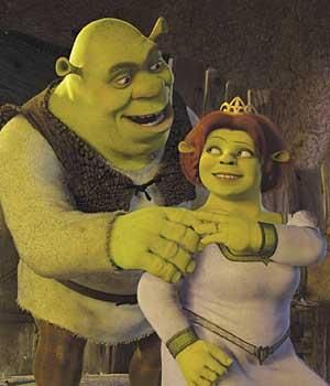 Mike Myers and Cameron Diaz as the voices of Shrek & Fiona from Shrek (2001)