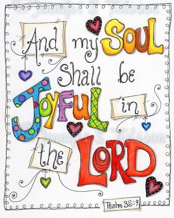 Christian Scripture Art, Original Colored Pencil Drawing, Joyful Soul