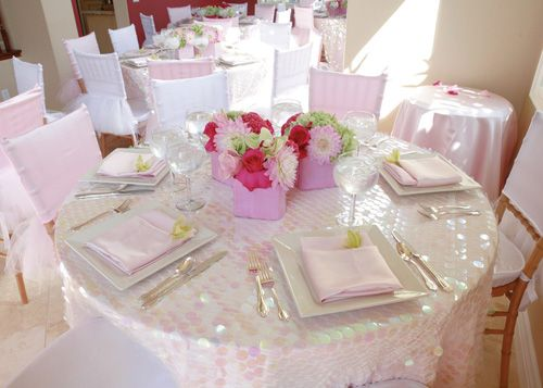 Pretty Pink Amp White Table Setting Wedding Decor