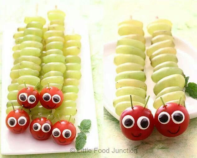Grapes and tomatoes - these would be so cute for a childrens party. You could use cherries as well.