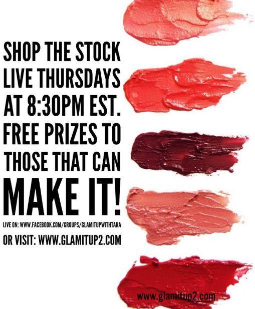 SHOP the Stock - LIVE on Thursdays at 8:30pm EST! www.facebook.com/groups/glamitupwithtara or visit my webpage at www.glamitup2.com