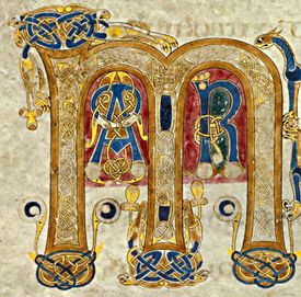 "Letter ""M"" from the Book of Kells."