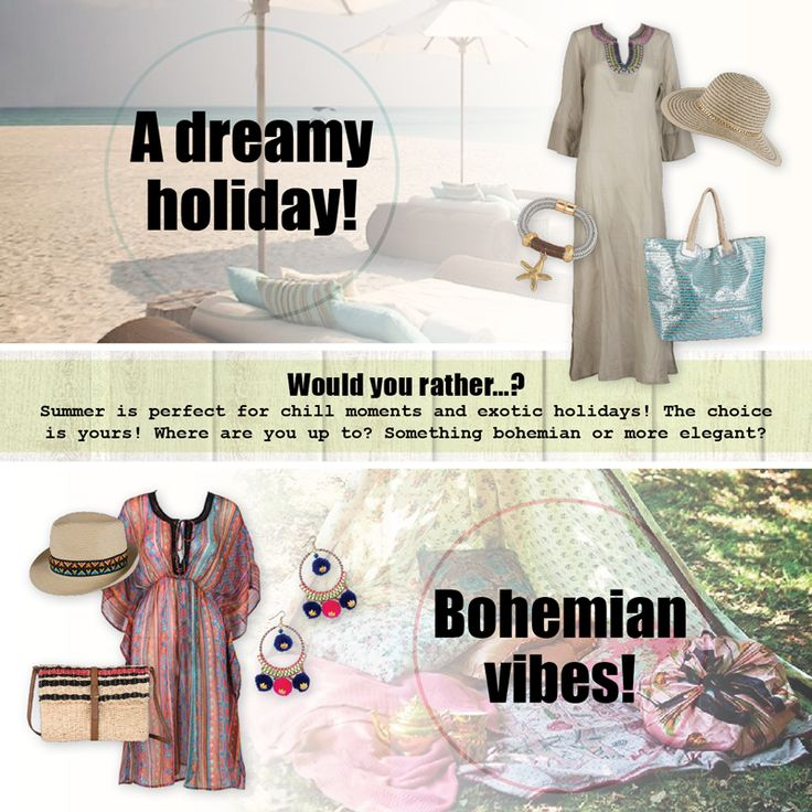 You can chic it up in a dreamy holiday by choosing a long kaftan and a fancy bag, but you can also live the bohemian dream with printed tunics and straw choices! What do you think??  #achilleas_accessories