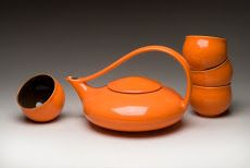 Mandarin Orange Classic Tea with 4 cups, $200, http://transformgallery.com/Judith-Weber/
