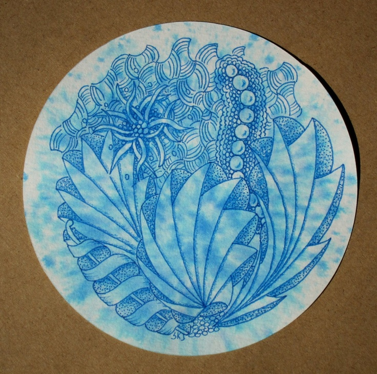 Sue's tangle trips  see my blog for more info - Done on a hand-colored tile for sale on Sue's blog.