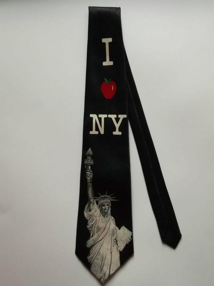I Love NY New York USA Men's Hand Made Neck Tie Wearable Art Statue of Liberty
