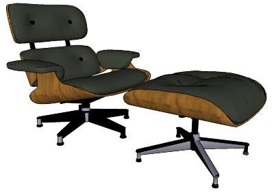 (HQ) Charles Eames Lounge Chair And Ottoman - 3D Warehouse