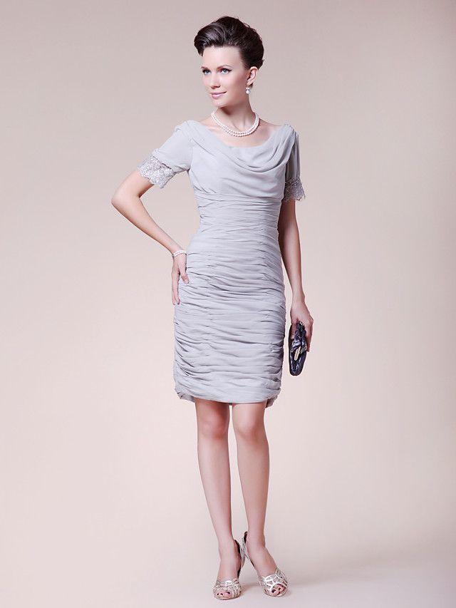 Sheath/Column Plus Sizes Mother of the Bride Dress - Silver Knee-length Short Sleeve Chiffon - USD $89.99