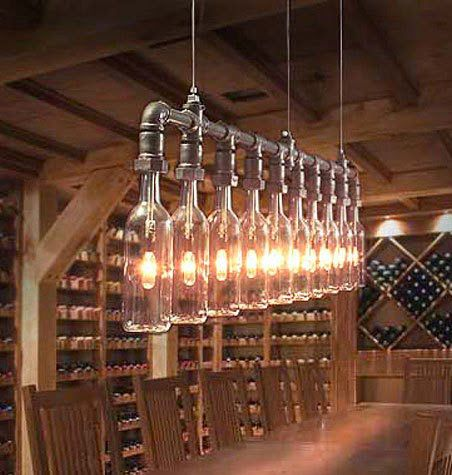 Lampadario originale - tubi e bottiglie