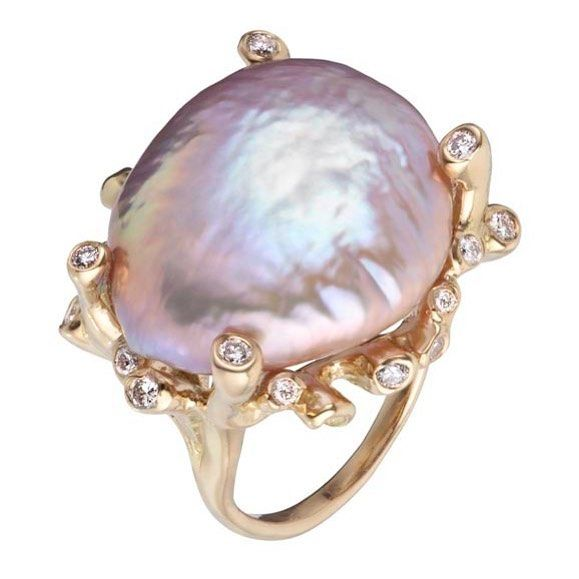 Japanese fresh-water Kasumi pearls make the most luminous center pieces for the Branching Coral rings. One-of-a-kind rings featuring rare pearls; distinctive, custom cut gems and lots of diamonds @kimberlinbrownjewelry.