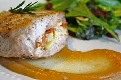 Stuffed Pork Chops with bacon, apples, and gouda