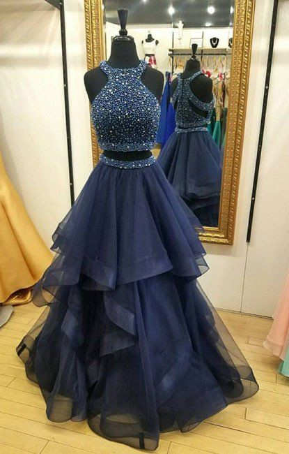 Navy Two Pieces Prom Dress with Beading,Graduation Party Dresses, Formal Dress For Teens · BBTrending · Online Store Powered by Storenvy