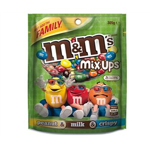 A box of 12 M&Ms Mix Ups Bags 305g. This brilliant mix is made up of peanut, milk chocolate and crispy M&Ms.