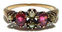 VICTORIAN WOMENS 10K YELLOW GOLD GENUINE RUBY & PEARL ESTATE RING SIZE 6