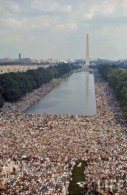 """The March on Washington for Jobs and Freedom was one of the largest political rallies for human rights in United States history & called for civil & economic rights for African Americans. It took place in Washington, D.C. on Wednesday, August 28, 1963. Martin Luther King, Jr., standing in front of the Lincoln Memorial, delivered his historic """"I Have a Dream"""" speech advocating racial harmony during the march."""