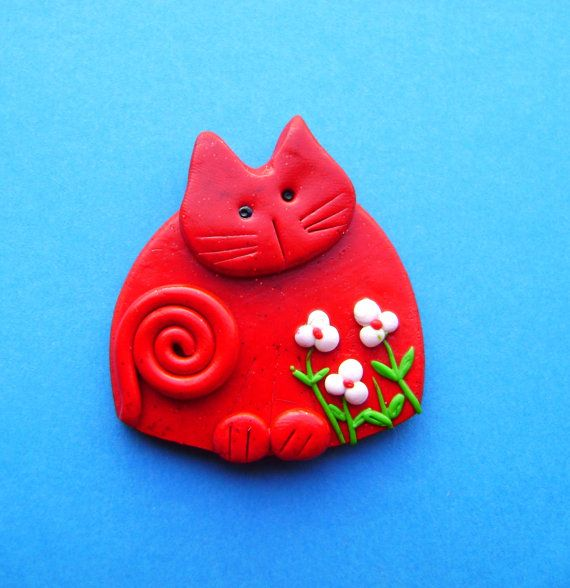 Polymer Clay Christmas Red Cat brooch pin or magnet by Coloraudia, $10.00