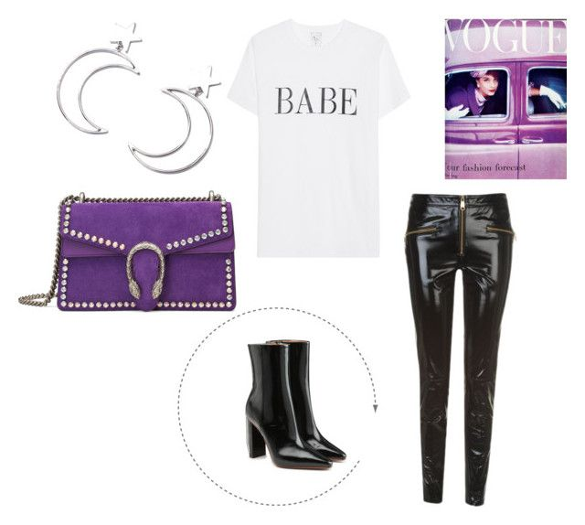 """""""Babe"""" by paula-wallin on Polyvore featuring Gucci, Tommy Hilfiger, Vetements, Ana Accessories and purple"""