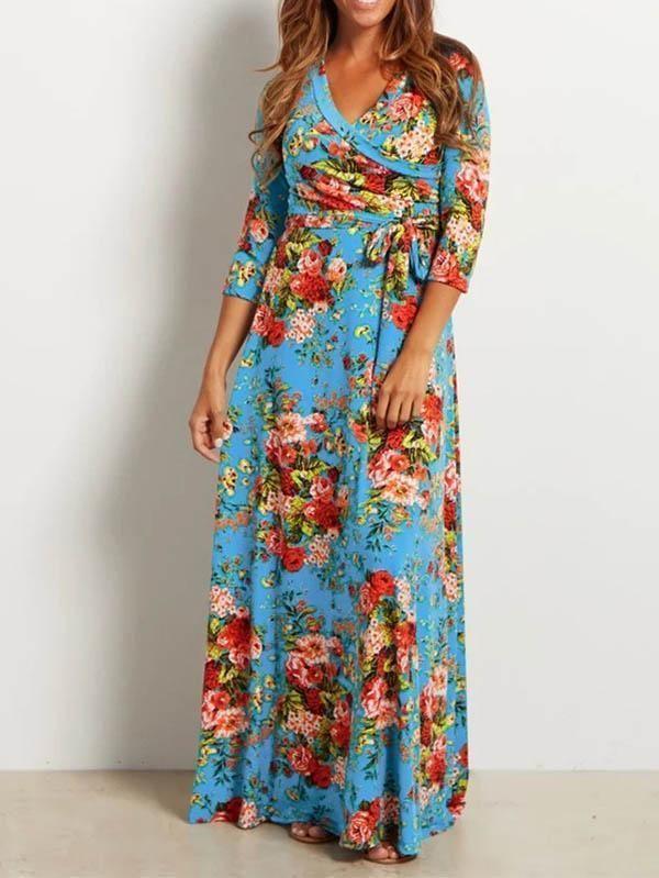 7ae47b1e4b Stylish Vovo Floral Printed V-neck Maxi Dress in 2019
