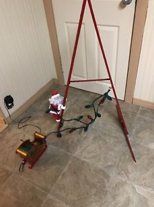 VINTAGE MR CHRISTMAS STEPPING SANTA ANIMATED MUSICAL LADDER WITH LIGHTS 2004  | eBay