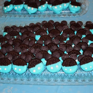 Baby Mickey Mouse Oreo cookie treats for 1st birthday party.
