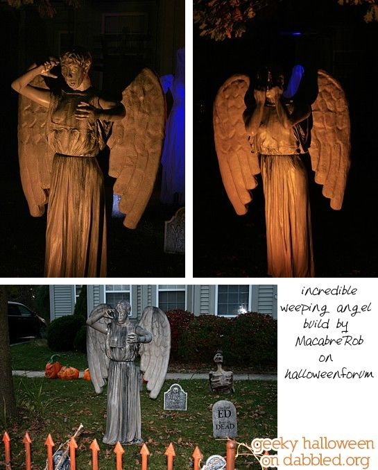 Geeky Halloween on Dabbled: Dr Who Weeping Angels Homemade THE MOST AMAZING Weeping Angels WAY more complicated than my skill level, but if ever someone wants to mold some mannequins for me...