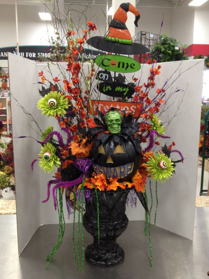 "Bewitched Entry Way Indoor/Outdoor Halloween Floral Arrangement. PUMPKIN LIGHTS UP!!! DO YOU DARE ""COME IN?""   By Christian Rebollo"