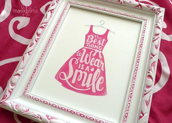 Het beste ding om te dragen is een glimlach» digitale kunst Print» Hand gehonoreerd, inspirerende citaat» meisjes roze slaapkamer Decor» INSTANT DOWNLOAD – Beautiful Quotes