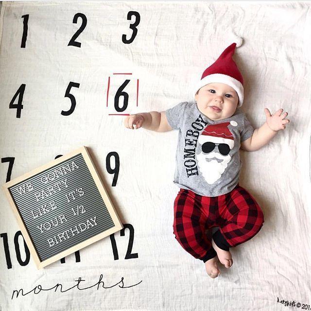 Santa 🎅🏻 is my homeboy! ❤️  baby milestone  baby milestone ideas  baby… – Memories & Milestones
