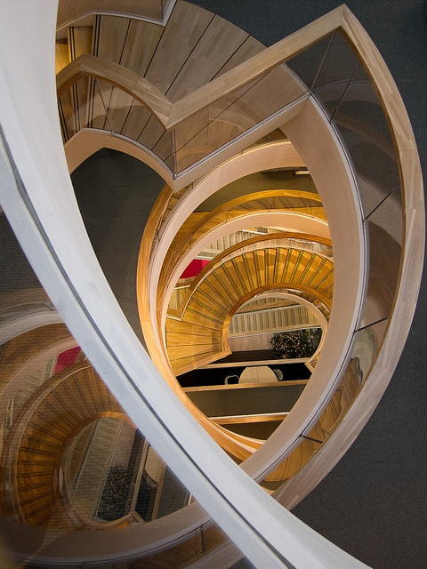 At the top of the stairs by Peter Nijenhuis, via Flickr.  Staircase and reflection at the Menzis office building. Groningen, The Netherlands.