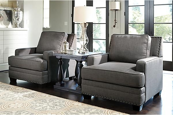 "The Cloverfield Chair from Ashley Furniture HomeStore (AFHS.com). With the clean off-white color of the textured chenille upholstery fabric surrounding the comfort of the welted UltraPlush seating cushions perfectly complementing the nail head accents, the ""Cloverfield-Jute"" upholstery collection creates a comfortable environment in any living area without sacrificing the beauty you deserve."