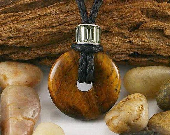 Tigereye donut pendant, mens necklace, mens pendant, men pendant necklace, gift for him, tigereye