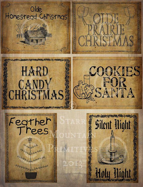 Primitive Christmas Prairie Feather Tree Santa Pantry Logo Labels Jpeg Digital File for Crock Jar, Labels, Pillows, Doll