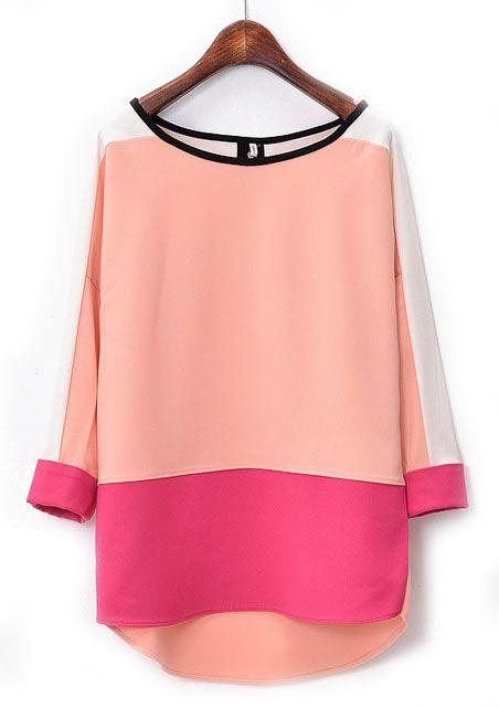 Pink Red Long Sleeve Dipped Hem Chiffon Blouse - Sheinside.com