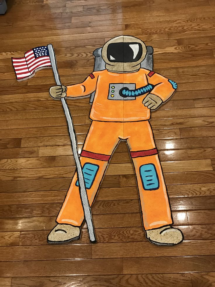 Astronaut, VBS 2017 galactic starveyors.. made out of styrofoam insulation board, painted and cut with a heat knife.  $3