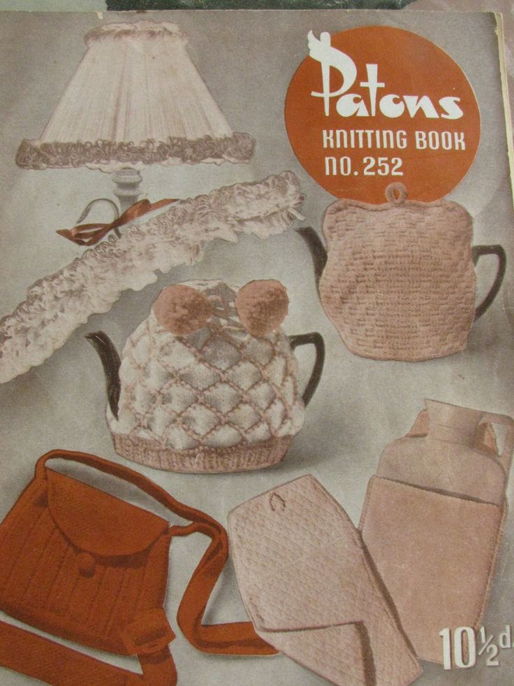 Pattons Knitting Book no.252 Shabby Chic 1950's 21 Patterns PDF Instant Download Tea Cosies Rugs Toys Doll Cloths Lamp Shade Bags by TassieVintage on Etsy