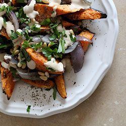 Roasted sweet potatoes & red onions with tahini & za'atar from ...
