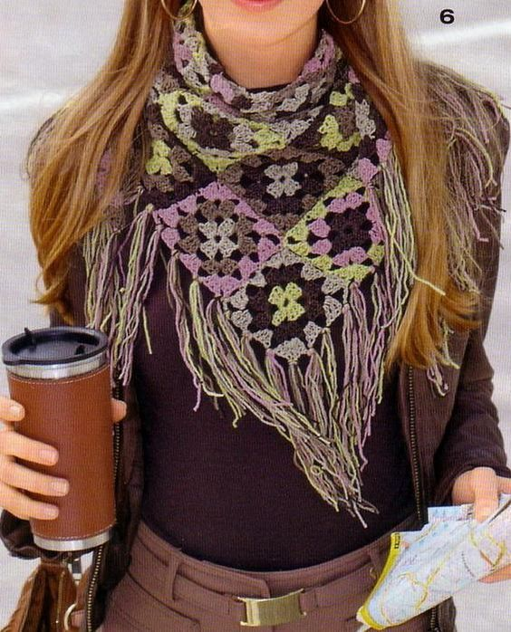 Women Scarf - crochet granny square: