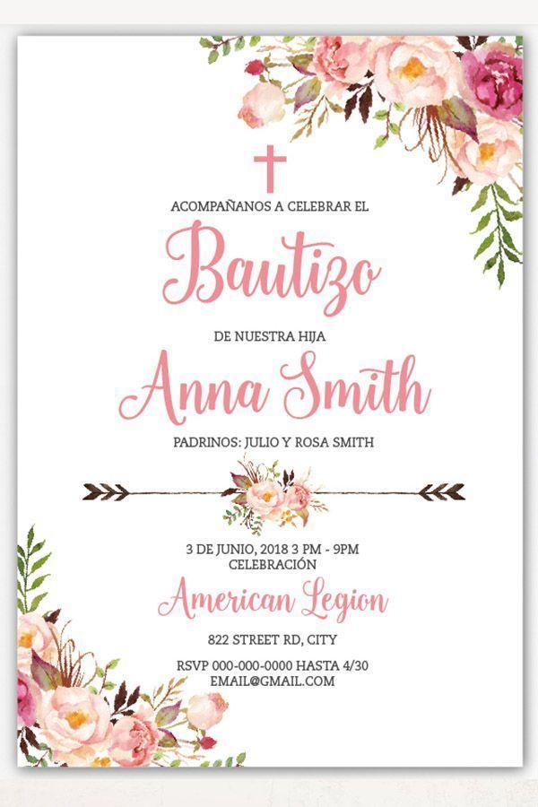 Boho Taufe Einladung Mädchen Spanisch Blumen Taufe