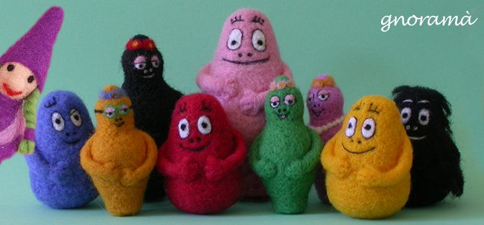 Gnoramà creates your favorite characters with carded wool! Here's family Barbapapa! #felt #barbapapa #handmade