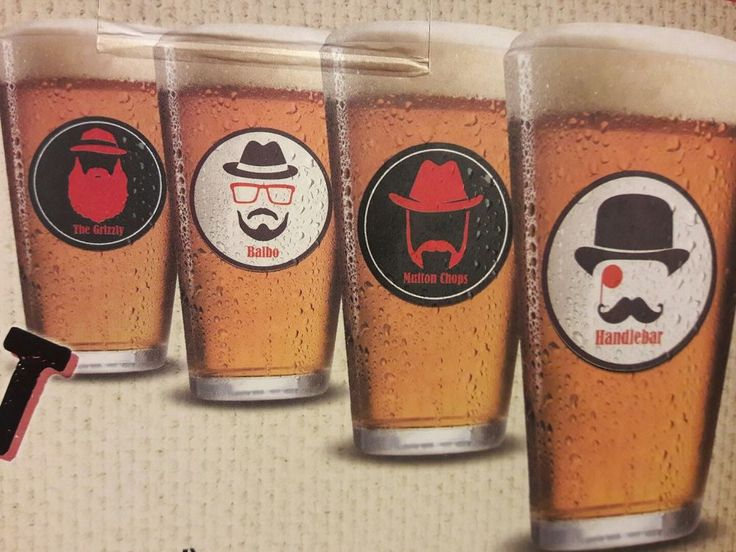 Pint Glass Bar Set Of 4 Moustache Design Handlebar Balbo Grizzly Mutton Chops  #Unbranded